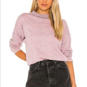 Free People Be Free Pink Stripe Long Sleeve Mockneck Tunic Top Medium